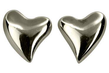SILBERMOOS Damen Ohrstecker Herz Herzchen klein geschwungen konvex glänzend 925 Sterling Silber Ohrringe