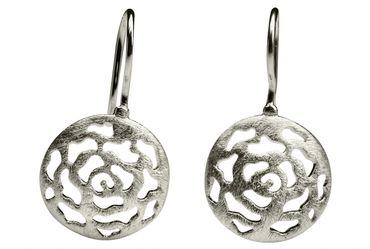 SILBERMOOS Damen Ohrhänger Ornament Muster filigran rund gebürstet 925 Sterling Silber Ohrringe