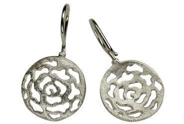 SILBERMOOS Damen Ohrhänger Ornament Muster filigran rund gebürstet 925 Sterling Silber Ohrringe – Bild 4