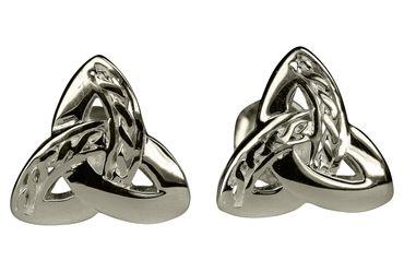SILBERMOOS Damen Ohrstecker Dreiecks-Knoten Dreieinigkeit Kelten-Schmuck keltisch glänzend 925 Sterling Silber Ohrringe  – Bild 1