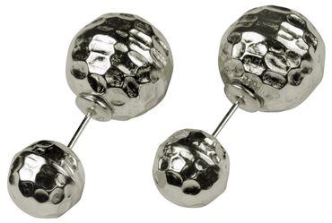 SILBERMOOS Damen Doppel-Ohrstecker double studs zwei Kugeln entgegengesetzt glänzend gehämmert 925 Sterling Silber