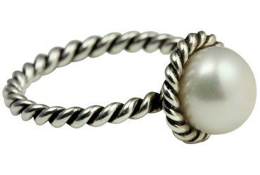 Schmaler Kordelring mit Perle – Bild 4
