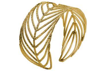 SILBERMOOS Exklusiver Damen Armreif vergoldet im Natur Design offen filigran Blatt Feder massiv 925 Sterling Silber Armspange – Bild 2