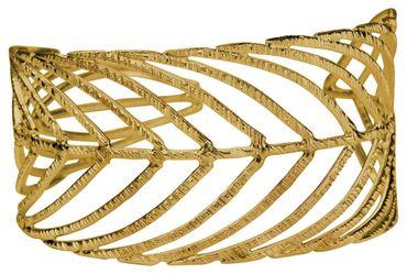 SILBERMOOS Exklusiver Damen Armreif vergoldet im Natur Design offen filigran Blatt Feder massiv 925 Sterling Silber Armspange – Bild 4