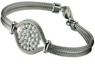 SILBERMOOS Damen Armband aus gestrickter Kordelkette mit weißen Zirkonia-Steinen extravagant italienisches Design rhodiniert 925 Sterling Silber – Bild 5
