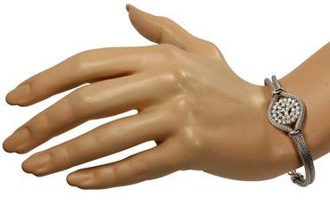 SILBERMOOS Damen Armband aus gestrickter Kordelkette mit weißen Zirkonia-Steinen extravagant italienisches Design rhodiniert 925 Sterling Silber – Bild 2