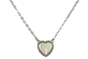 SILBERMOOS Damen Herz Kette 45 cm mit Edelstein Perlmutt Ankerkette 925 Sterling Silber