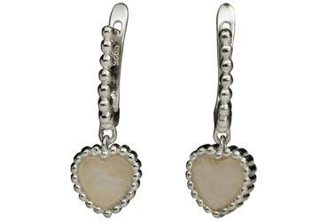 SILBERMOOS Damen Herz Ohrringe im Creolen-Stil mit Edelstein Rosenquarz 925 Sterling Silber