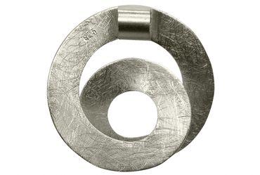 SILBERMOOS Anhänger mit Kette Spirale Loop offen Kreis gebürstet mit Criss-Cross-Kette 45 cm diamantiert 1,4 mm 925 Sterling Silber – Bild 4