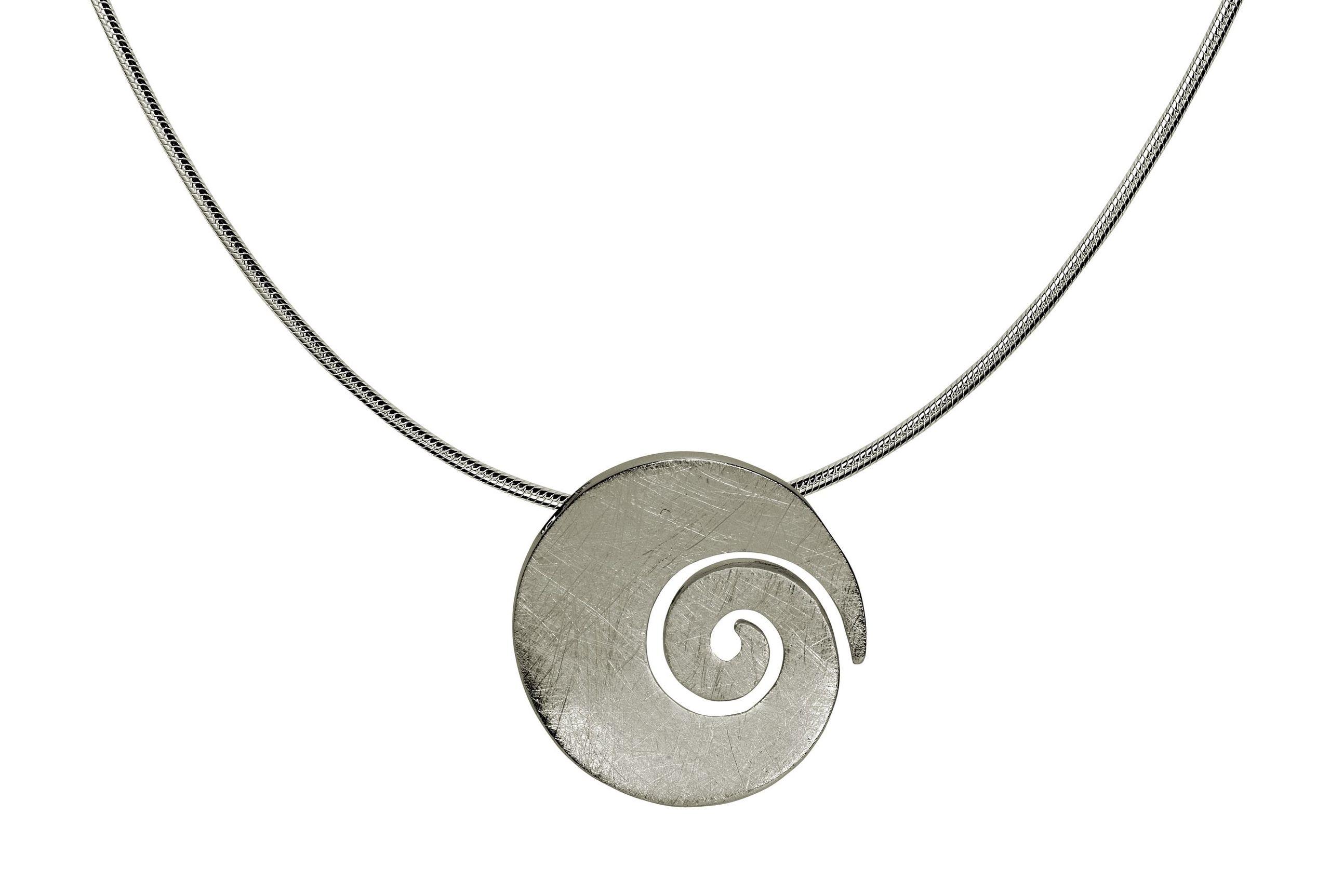 782692b53a7d SILBERMOOS Colgante con collar gran círculo espiral redondo abierto  cepillado con collar serpiente de 45 cm