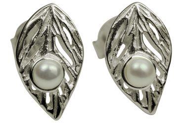 SILBERMOOS Damen Ohrstecker Blatt-Motiv mit Süßwasser-Perle matt 925 Sterling Silber Ohrringe – Bild 1