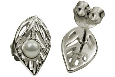 SILBERMOOS Damen Ohrstecker Blatt-Motiv mit Süßwasser-Perle matt 925 Sterling Silber Ohrringe – Bild 6