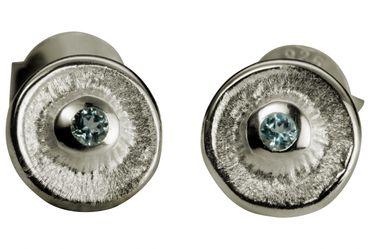 SILBERMOOS süße Damen Ohrstecker rund mit blauem Topas 925 Sterling Silber matt Ohrringe