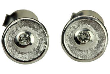 SILBERMOOS süße Damen Ohrstecker rund mit weißem Topas 925 Sterling Silber matt Ohrringe