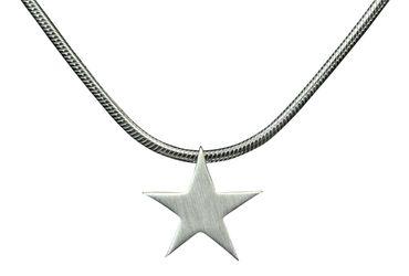 SILBERMOOS Anhänger mit Kette Stern Sternchen klein Star matt glänzend mit Schlangenkette 45 cm 925 Sterling Silber – Bild 1