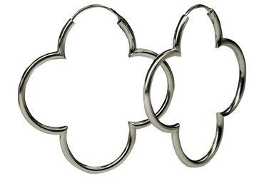 SILBERMOOS Damen Creolen Blumen Kleeblatt glänzend 925 Sterling Silber Ohrringe – Bild 3