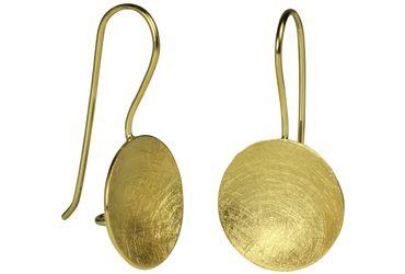 SILBERMOOS runde Damen Ohrhänger vergoldet klassisch konkav Schale 925 Sterling Silber – Bild 1