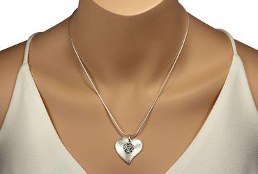 SILBERMOOS Damen Anhänger großes Herz mit Blüte auffällig 925 Sterling Silber / Kette optional – Bild 5