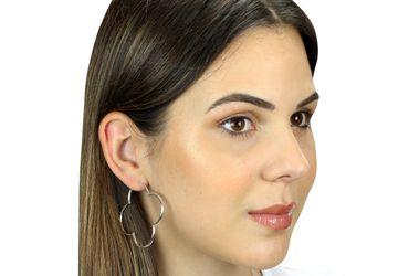 SILBERMOOS Damen Creolen große Blumen Kleeblatt glänzend 925 Sterling Silber Ohrringe – Bild 2