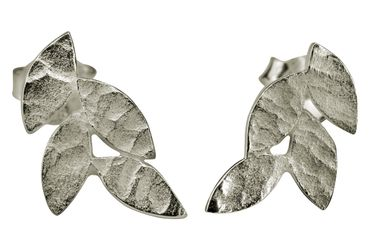 SILBERMOOS Damen Ohrstecker kleines Blatt filigran matt 925 Sterling Silber