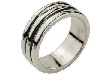 SILBERMOOS Herren Ring in Streifen-Optik massiv geschwärzt 925 Sterling Silber modern cool – Bild 1