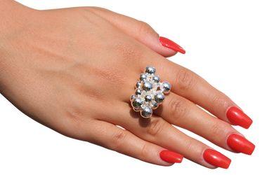 SILBERMOOS Damen Ring Designring mit beweglichen Kugeln Kugelring opulent glänzend 925 Sterling Silber – Bild 2