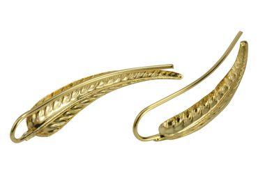 SILBERMOOS Damen Ohrklemmen Earcuff Blatt vergoldet modern im Trend zum Klemmen 925 Sterling Silber Ohrringe – Bild 1