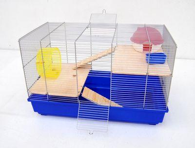 Mäusekäfig Hamsterkäfig Nagerkäfig 58x32x38 cm blau mit Zubehör