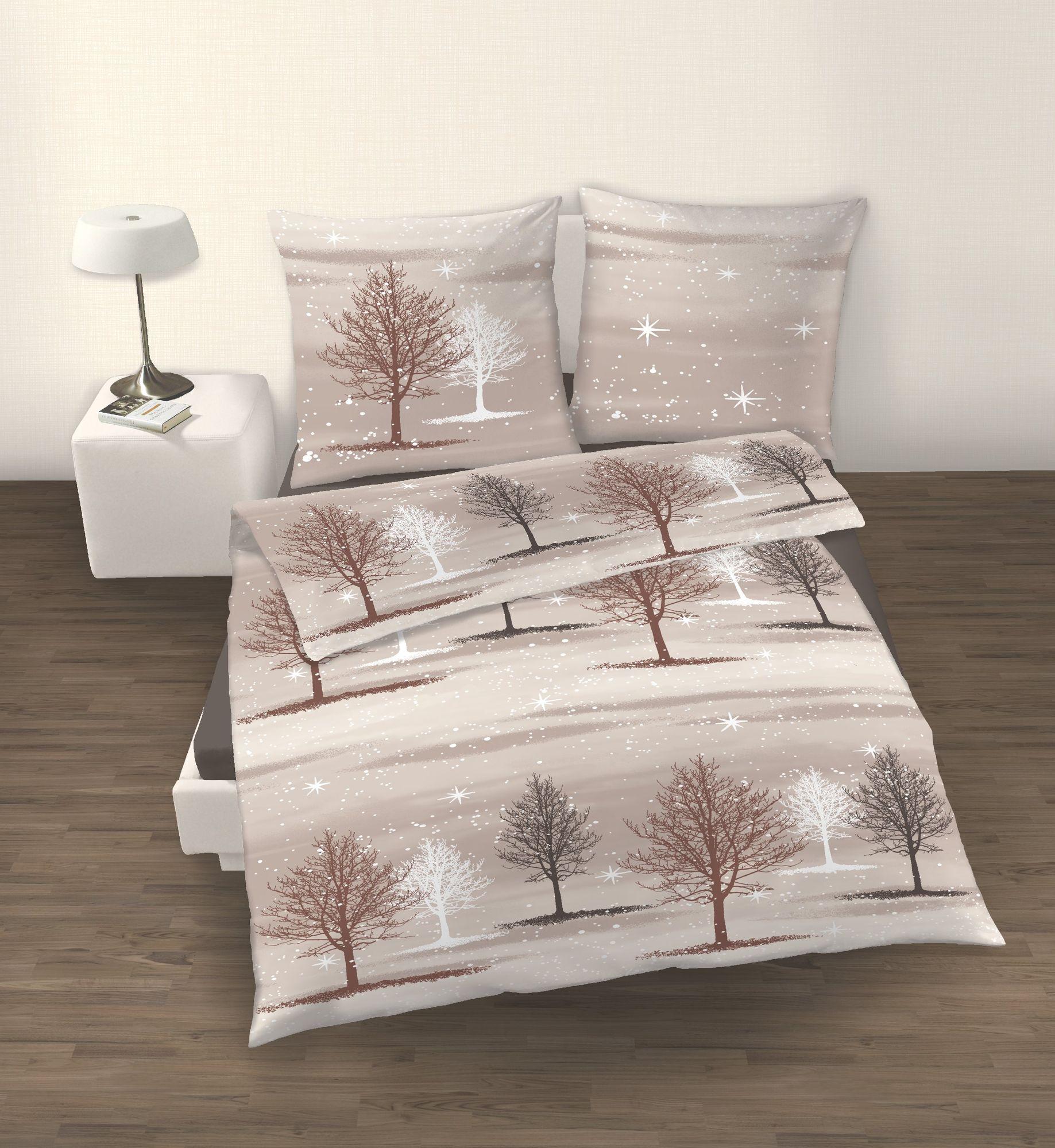 fein biber bettw sche 2tlg braun beige flanell 135 200 cm. Black Bedroom Furniture Sets. Home Design Ideas