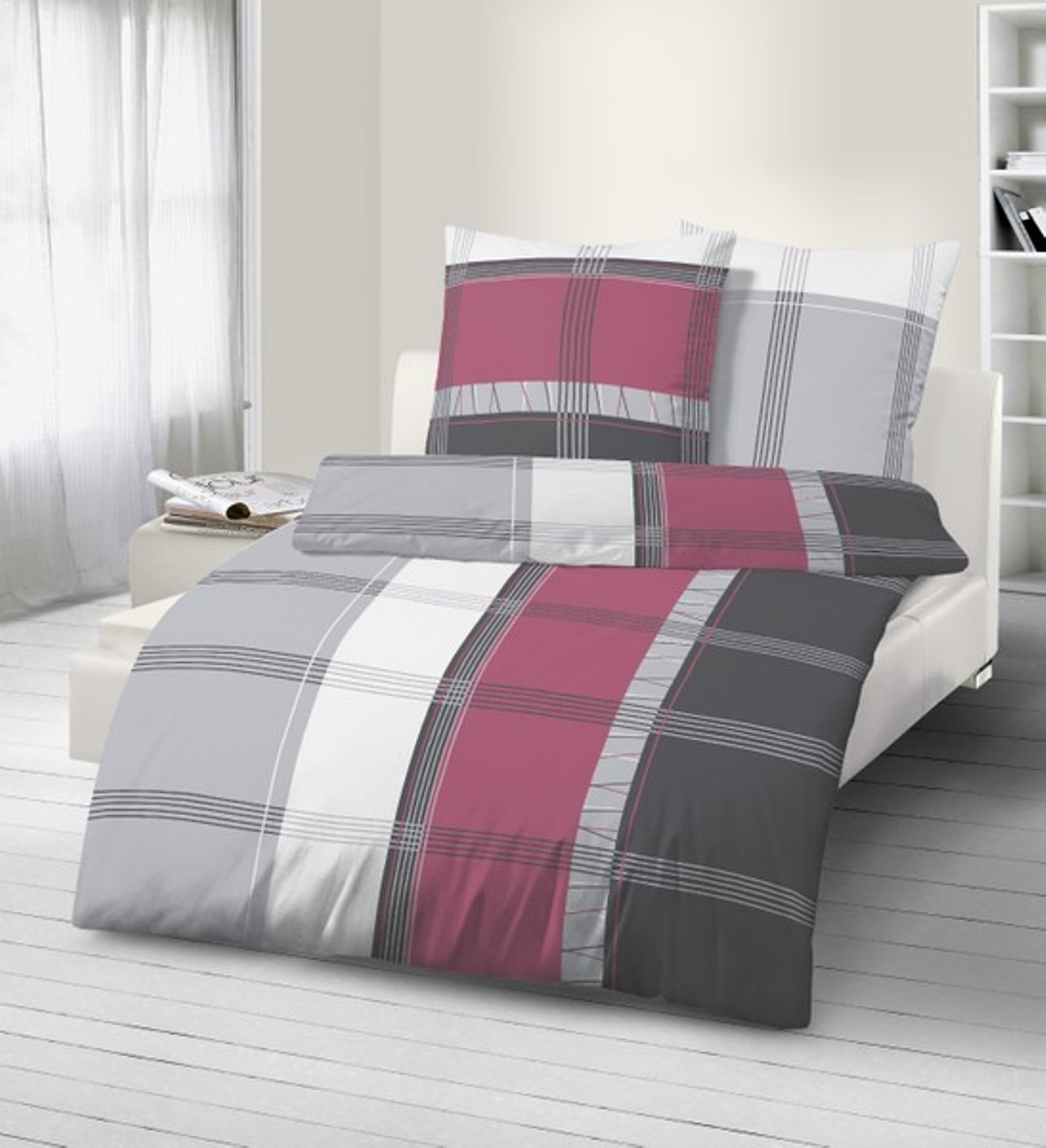 fein biber bettw sche 2 bordeaux 155x220 cm 80x80 cm bergr e ebay. Black Bedroom Furniture Sets. Home Design Ideas