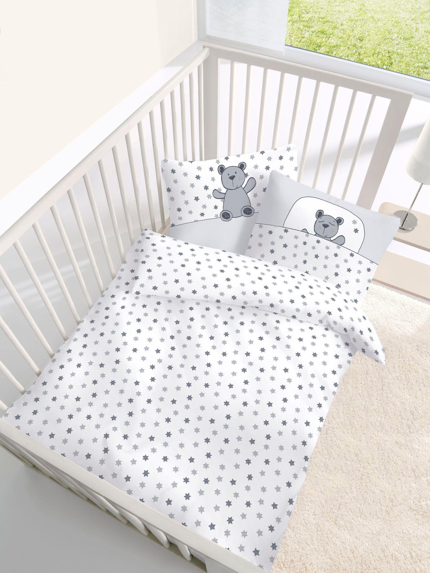 Baby Bettwäsche Teddy Und Sterne 2 Tlg 100x135 Cm 40x60 Cm Silber