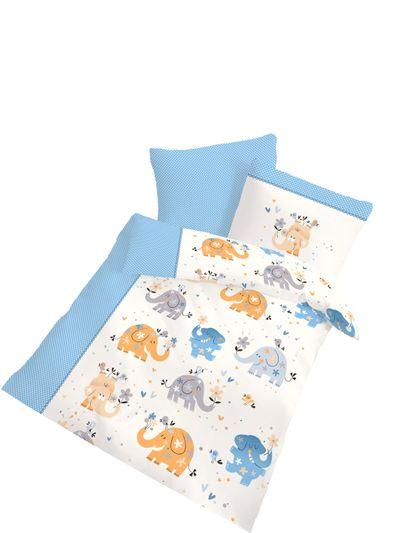 Baby Biber Bettwäsche Elefant 2 tlg. 100x135 cm (40x60 cm)  blau