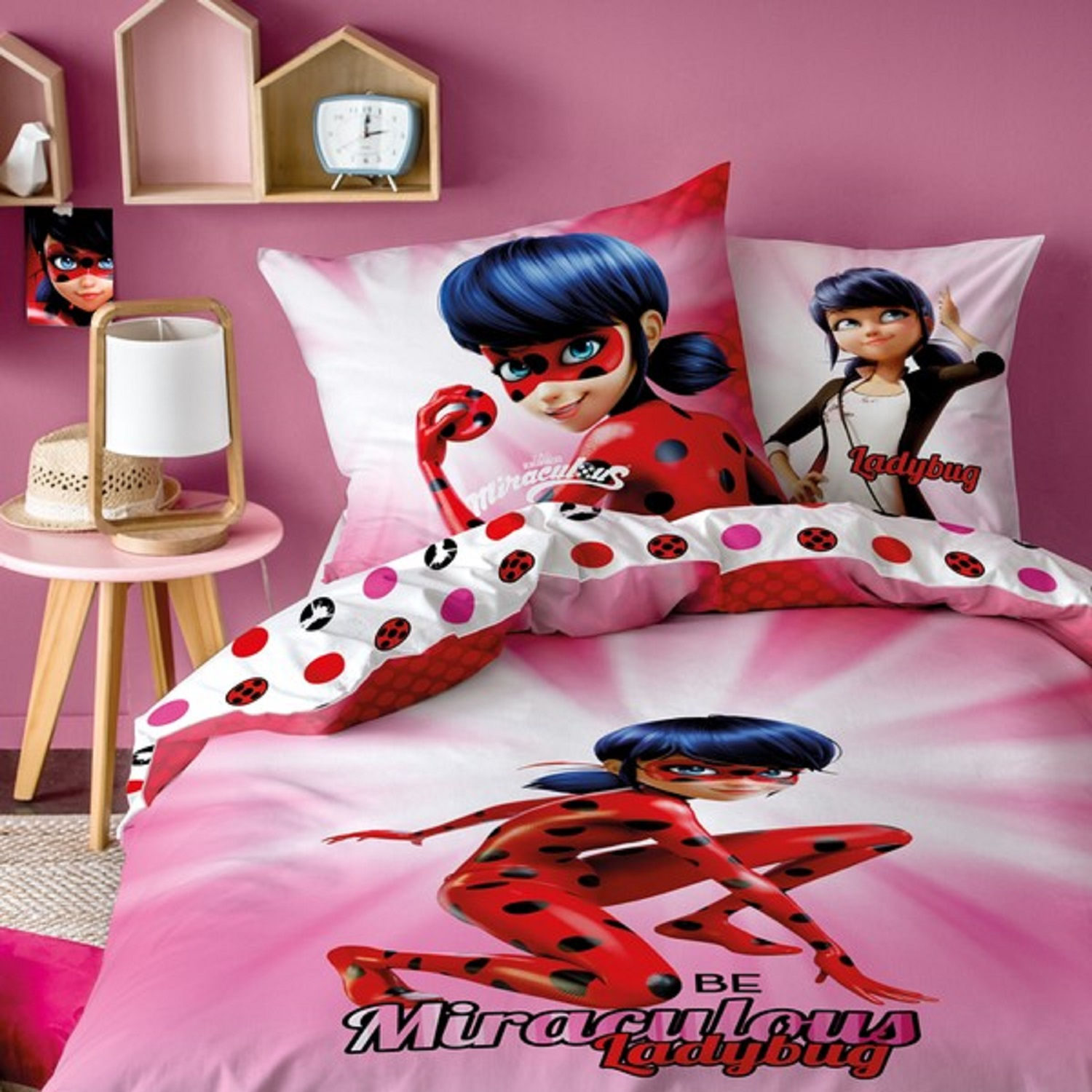 Bed Cover Miraculous Ladybug Ready 53 18x78 1116in 100 Baumwolle