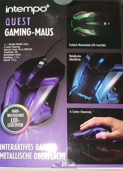Intempo Quest PC-Gaming-Kabelmaus mit wechselnder LED-Beleuchtung