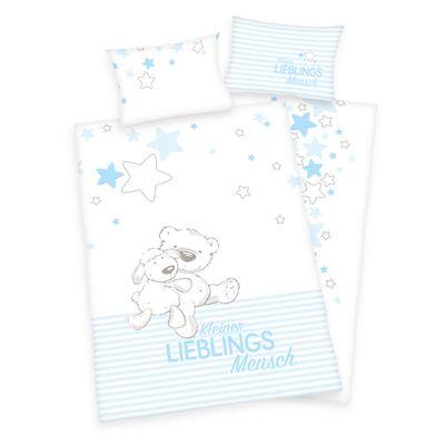 Baby Best Bettwäsche-Set Lieblingsmensch blau 100x135 cm