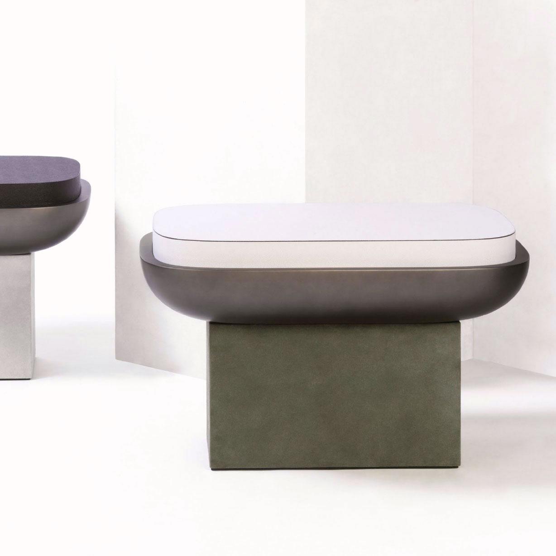 OLYMPIA | Rectangular Stool - loden green, bronze, white