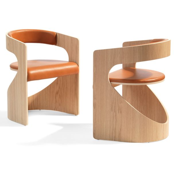 BLA STATION | Lucky Chair - Holz, Leder cognac – Bild $_i