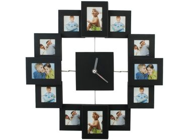 Wall Clock With 12 Photo Frames