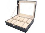 Uhrenbox Uhrenkoffer mit abnehmbaren Organizer Leder Schmuck Uhrenschatulle für bis zu 10 Uhren Uhrenkasten  Uhrenkissen aus Kunstleder 1369 001