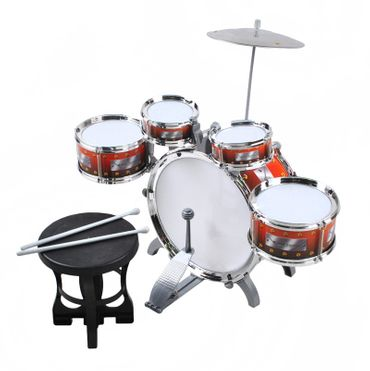 Children 5-Piece Beginners Drum Kit Set Musical Toy Instrument Stool Percussion Playset 1551