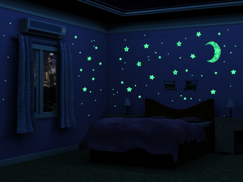 sticker nachtleuchtend fluoreszierende sterne wandtattoo leuchtsterne 2564 ebay. Black Bedroom Furniture Sets. Home Design Ideas