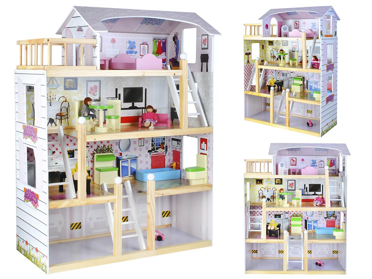 Casa delle bambole in legno ragazza giocattolo 3 piani for 2 piani di garage per auto 3 piani