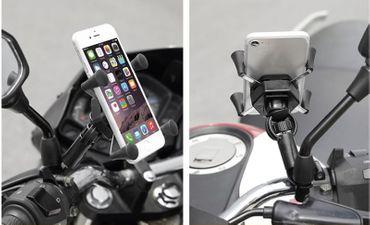 Motorrad-Handyhalter mit Ladegerät 360 Grad Drehbar aus Aluminium Schwarz  8685  – Bild 3