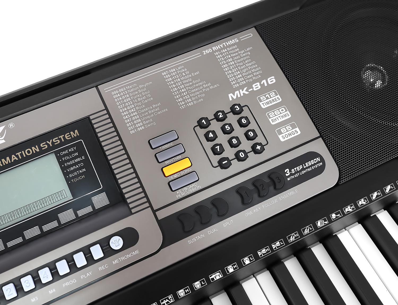 Keyboard Digital 61 Tasten Einsteiger Kinder 260 Rhythmen 65 Demomelodien 9411