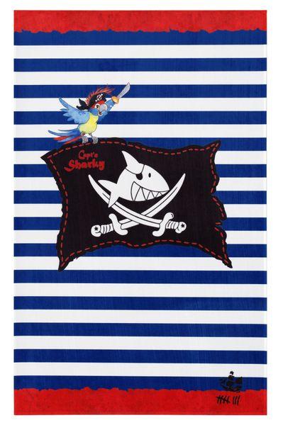 """Kinderteppich- Der Pirat """"Captin Sharky"""" und seine Freunde, die Flagge mit gestreiften Hintergrund, Spielteppich"""