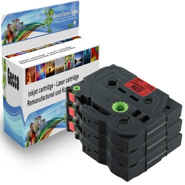 3x Schriftband-Kassetten für Brother TZ-431 TZE-431 Schwarz auf Rot 8m/12mm new – Bild 1