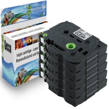 5x Schriftband-Kassetten für Brother TZ-131 TZE-131 Schwarz / Clear 8m/12mm new – Bild 1