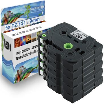 5x Schriftband-Kassetten für Brother TZ-121 TZE-121 Schwarz auf Clear 8m/9mm new – Bild 1