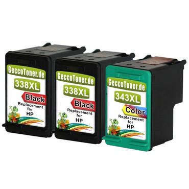 3 Refill Drucker Patronen für HP 338 + 343 XL new – Bild 2