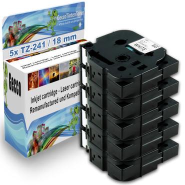 5x Schriftband-Kassetten für Brother TZ-241 TZE-241 Schwarz auf Weiß 8m/18mm new – Bild 1
